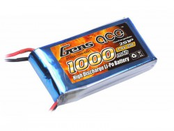 Gens ace 1000mAh 7.4V 25C 2S1P Lipo Battery Pack - 250 Helicopter, 800mm Warbirds - RcHobby24