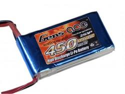 Gens ace 450mAh 7.4V 25C 2S1P Lipo Battery Pack - Align Trex, Walkera - RcHobby24