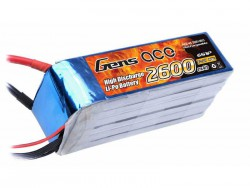 Gens ace 2600mAh 22.2V 45C 6S1P Lipo Battery Pack - DEAN-T - Helikopter - RcHobby24