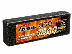 Gens ace 5000mAh 7.4V 65C 2S2P HardCase Lipo Battery 10# - DEAN-T - Roar Approved - RcHobby24