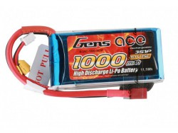 Gens ace 1000mAh 11.1V 25C 3S1P Lipo Battery Pack - RcHobby24
