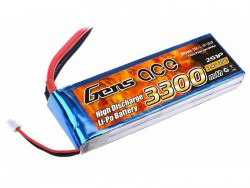 Gens ace 3300mAh 7.4V 25C 2S1P Lipo Battery Pack - DEAN-T - Align Trex, GAUI - RcHobby24