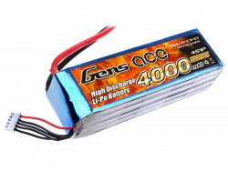 Gens ace 4000mAh 14.8V 25C 4S1P Lipo Battery Pack - EC5 - Align Trex, GAUI - RcHobby24