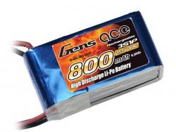 Gens ace 800mAh 11.1V 40C 3S1P Lipo Battery Pack - SYP - RcHobby24