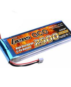 Gens ace 2500mAh 7.4V 25C 2S1P Lipo Battery Pack - DEAN-T - Align Trex, GAUI - RcHobby24