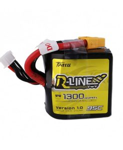 TATTU R-Line 1300mAh 14.8V 95C 4S1P Square Lipo Battery Pack - FPV Racing Competitions - XT60 - www.RcHobby24.com