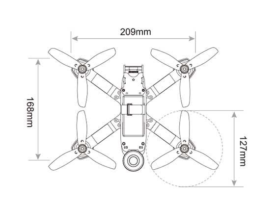 Walkera Furious 215 Racing Drone - Outline Top - www.RcHobby24.com